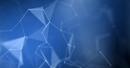 Geometric polygon plexus wire frame with blue light effect