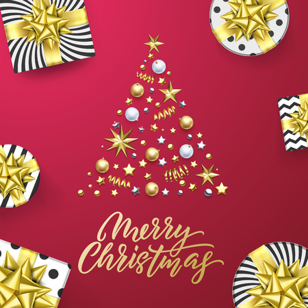 Merry Christmas golden greeting card pink background. Vector Xmas tree gold gifts, text calligraphy and stars confetti in silver sparkling decorations
