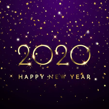 2020 Happy New Year of glitter gold confetti. Vector golden glittering text and numbers with sparkle shine for Christmas holiday greeting card on blue background