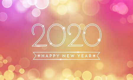 Happy New Year greeting card of 2020 confetti text and bokeh light on pink and vector golden background for Christmas holiday celebration Vector Illustration