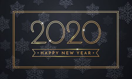 2020 Happy New Year greeting card of sparkling snowflakes and gold glitter frame for Christmas holiday celebration on vector black premium background Illustration