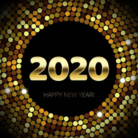 2020 Happy New Year of gold glitter and sequins confetti circle. Vector golden glittering text and numbers with sparkle shine for Christmas holiday greeting card on black background Vetores