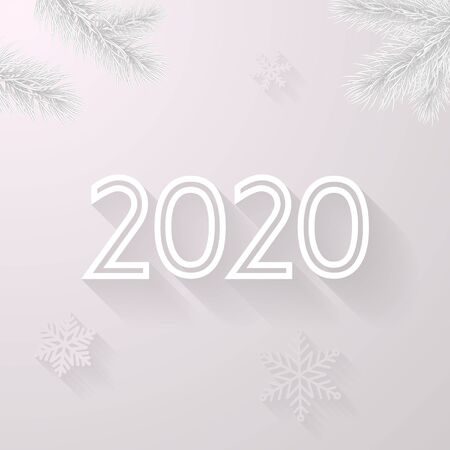 Happy New Year 2020 white greeting card background of vector Christmas tree and snowflakes in frost for Christmas holiday celebration