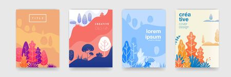 Tree leaf pattern  with abstract forest colors for cover templates creative design. Ilustracja