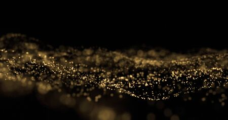 Golden glitter splash, light particles wave, golden sparks glow. Glittering light bokeh on black background, overlay effect