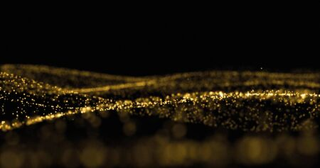 Golden glitter, sparkling light particles and glowing dust wave. Gold bokeh light glow, shimmering sparks flow splash wave on black background Zdjęcie Seryjne - 132053566