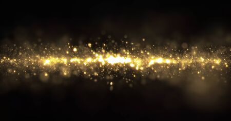 Gold sparkling glitter light wave, sparkling particles shine flow with bokeh effect. Glowing gold sparks and glittering sparkling light on black background