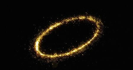 Golden glitter light circle tail, sparkling shine glow oval wave. Gold glittering magic shimmer trail, bright light sparks on black background Фото со стока