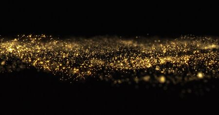 Golden glitter sparkles wave, sparkling particles light flow. Gold glittering sparks flow wave, shimmering light sparks glow on black background