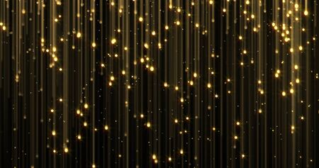 Golden rain, gold glitter particles falling. Glowing glittering magic lights. Christmas backdrop, shiny sparkling light threads in flowing loop, Gold particles with shimmer lights Zdjęcie Seryjne