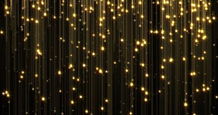 Golden rain, gold glitter particles with magic light sparks falling. Glowing glittering Christmas background, shiny sparkling and flowing light threads, luxury gold shimmer glare Imagens - 132053508