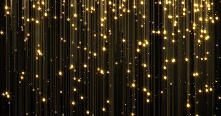 Goldener Regen, goldene Glitzerpartikel mit fallenden magischen Lichtfunken. Leuchtender glitzernder Weihnachtshintergrund, glänzend funkelnde und fließende Lichtfäden, luxuriöser Goldschimmerglanz Standard-Bild