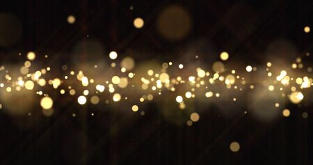 Gold light bokeh sparks, golden glitter particles shine wave. Shiny bright snow bling effect, shimmering dust light and magic glow sparkles, Christmas luxury background Zdjęcie Seryjne
