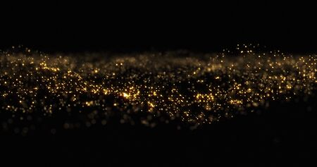 Gold glitter particles wave background, shining gold sparks and yellow glittery bokeh light. Gold glow and shimmering sparkles shine, abstract magic bright sparks in wave motion Zdjęcie Seryjne
