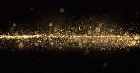Gold glitter particles wave background, shining gold sparks and yellow glittery bokeh light. Gold glow and shimmering sparkles shine, abstract magic bright sparks in wave motion Zdjęcie Seryjne - 131507137