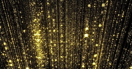 Golden rain, gold glitter particles, magic light sparks curtain.
