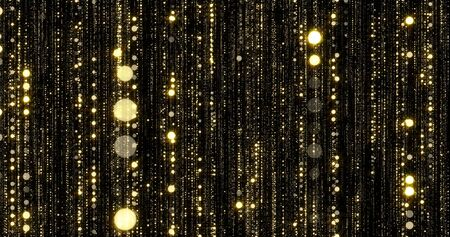Golden glitter flowing particles threads with bokeh light sparks. Gold glitter falling curtain background with magic glowing shimmer glares Zdjęcie Seryjne