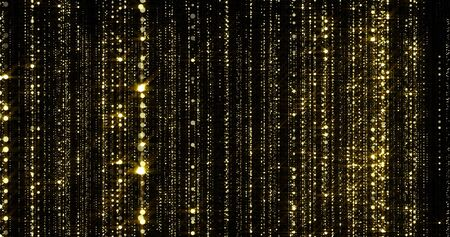 Golden glitter threads curtain, flowing light particles with bokeh sparks. Gold glitter falling flow background with magic glowing shimmer glare Zdjęcie Seryjne - 131943840