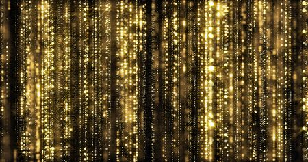 Golden glitter rain, gold particles threads curtain on black background. Luxury gold glitter light with bokeh sparks shimmer