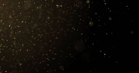 Golden glitter rain and gold particles glow with bokeh light. Golden sparks splash, shimmer glow flow on luxury black space background Zdjęcie Seryjne - 131945080
