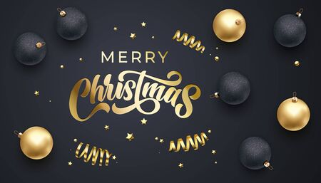 Merry Christmas golden calligraphy lettering, Xmas gold stars, balls and confetti decoration. Christmas holiday sparkling glitter balls ornaments on black background, vector premium design