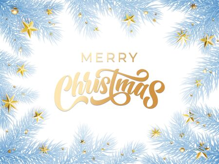 Gold Christmas text greeting card on white snow background with blue frost Christmas tree branches. Golden Xmas decoration, calligraphy and stars ornaments