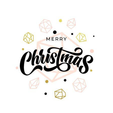 Merry Christmas gold glitter gilding geometric gem crystal ornaments decoration. Christmas greeting card, poster modern trend lettering design. Vector golden glittering balls on white background