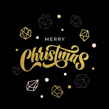 Merry Christmas greeting card, gold glitter geometric gem crystal ornaments decoration. Christmas modern trend poster lettering design, vector golden glittering balls ornaments decoration on black
