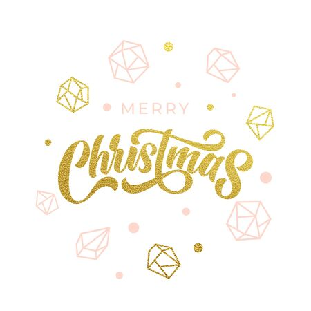 Merry Christmas gold glitter geometric gem crystal ornaments decoration and calligraphy. Christmas greeting card, modern lettering design. Vector golden glittering balls baubles on white background Ilustracja