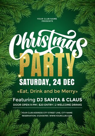 Christmas Party banner template with text and fir tree branches border. 24 December music club Xmas party celebration invitation poster