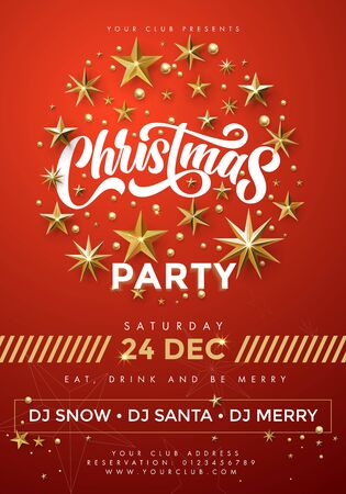 Merry Christmas party, vector red poster. 24 December music club celebration banner with invitation text template and golden twinkling stars, ornament decoration