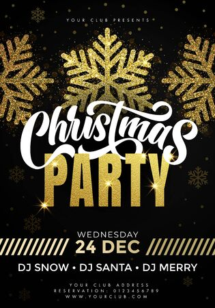 Merry Christmas Party poster. 24 December Xmas celebration and invitation banner template with text, gold foil snowflakes and golden twinkling stars on premium black background  イラスト・ベクター素材