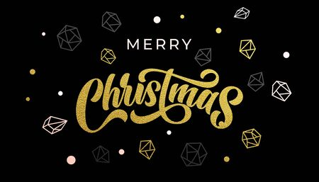 Merry Christmas gold calligraphy and ornaments pattern of golden and silver crystal glittering decorations. Christmas winter holiday greeting card, luxury premium black background
