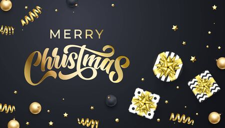 Merry Christmas golden calligraphy lettering, Xmas gold stars, balls and confetti decoration. Vector Christmas holiday sparkling ornaments and gift presents on black background Banco de Imagens - 132118947