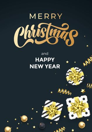 Merry Christmas and Happy New Year greeting card, golden calligraphy text and Xmas gifts. Vector Christmas golden ribbons, gold glitter confetti and ball decoration on premium black background