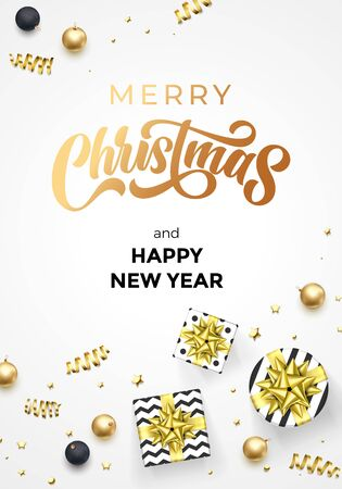 Merry Christmas and Happy New Year greeting card, golden calligraphy text, vector background template. Christmas gifts, golden ribbon, gold glitter confetti and ball decoration on white background