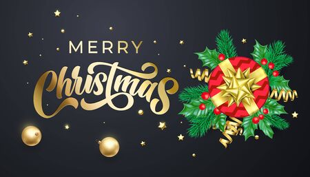 Merry Christmas golden calligraphy lettering, Xmas gold stars, balls and confetti decoration. Vector Xmas holiday greeting card, Christmas gift red present box, holly wreath and sparkling ornaments Ilustracja