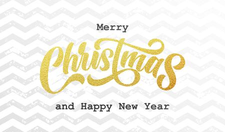 Merry Christmas golden calligraphy lettering with gold foil zigzag pattern background. Vector Xmas and New Year holiday sparkling ornaments on white background design Ilustracja