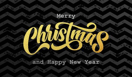 Merry Christmas and Happy New Year golden calligraphy lettering on gold foil zigzag pattern background. Xmas holiday sparkling ornaments on black background, vector design Ilustracja