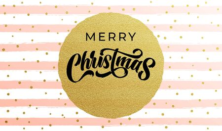 Merry Christmas calligraphy lettering with golf foil circle and golden snowflakes on stripe pattern background. Xmas holiday sparkling ornaments on white and pink background, vector design