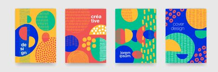 Fun doodle pattern backgrounds with abstract shapes and colors. Vector modern trendy cartoon pattern design for funny brochure cover template Illustration