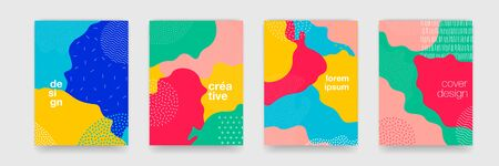 Fun doodle pattern background with abstract shapes and colors. Modern pattern for funny brochure cover, vector template design Illustration