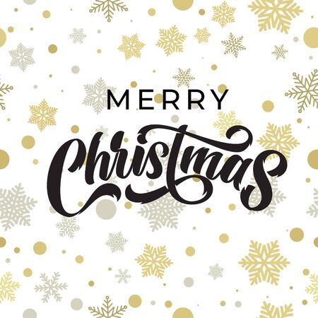 Merry Christmas greeting card calligraphy on gold glittering snowflakes pattern. Xmas greeting text and Christmas golden snow decoration on white background, vector winter holidays design