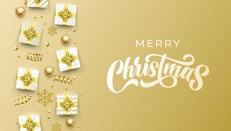 Merry Christmas greeting card calligraphy on gold glittering background, winter holidays vector design. Xmas greeting text and Christmas golden gift boxes and decoration ornaments background