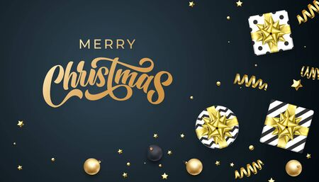 Merry Christmas greeting card golden calligraphy and gold glittering decoration ornaments, vector winter holidays design. Xmas greeting text and Christmas golden gift boxes on black background