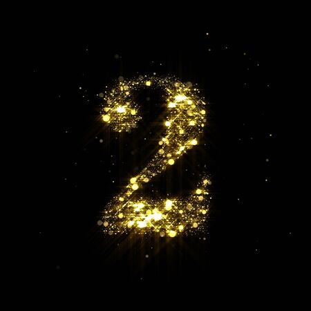 Golden glitter number 2, sparkling gold light and glowing gold particles shine font