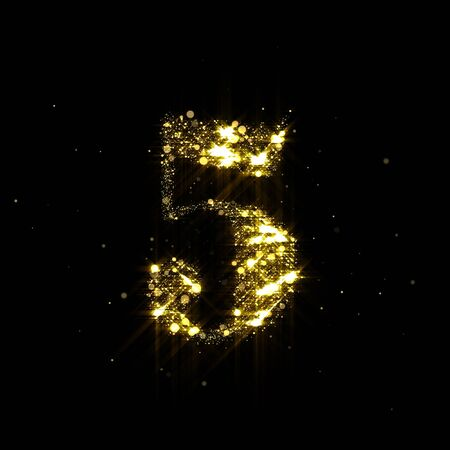 Golden glitter number 5, sparkling gold light and glowing gold particles shine font 写真素材
