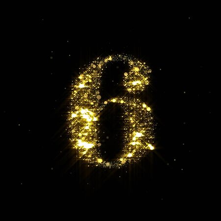 Golden glitter number 6, sparkling gold light and glowing gold particles shine font.