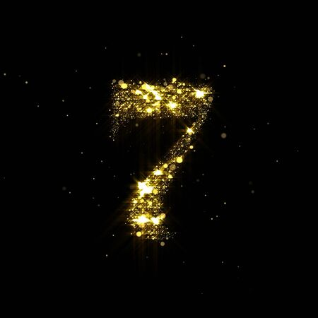Golden glitter number 7, sparkling gold light and glowing gold particles shine font.