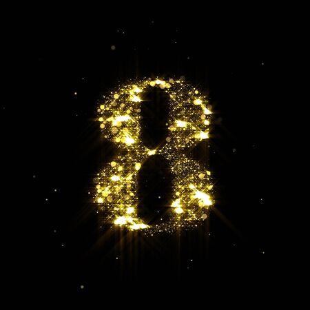 Goldener Glitzer Nummer 8, funkelndes Goldlicht und leuchtende Goldpartikel glänzen Schrift. Nummer acht aus schimmernden Pailletten und leuchtenden Glitzern auf luxuriösem schwarzem Hintergrund Standard-Bild